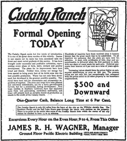 Cudahy Ranch Formal Opening Today - Newspaper (JPG) Opens in new window